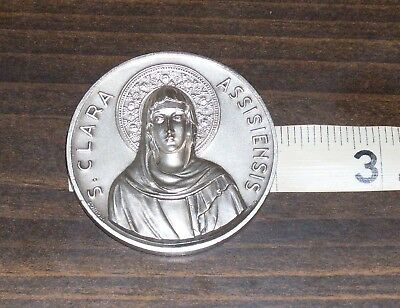 * Vatican Art Medal  Silver Wash over Bronze S Clara Assisiensis 1253 - 1953 *