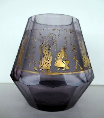 Art Deco Vase Gold-Fries in Oroplastik auf satiniertem Band Moser Karlsbad 1920