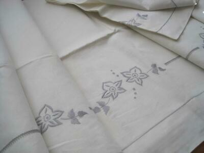Quality Unused Xl French Linen Sheet And Bolster Case Set; Lovely Bedding Fabric