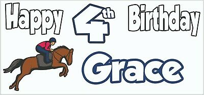 Personalised Horse Riding 4th Birthday Banner X2 Decorations Daughter Girls Boys