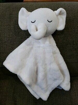 Kyle & Deena Security Buddy Blanket Lovey Elephant White Ivory Embossed
