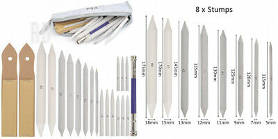 WOWOSS 17 Pieces Blending Stumps and Tortillions Set with 2 White