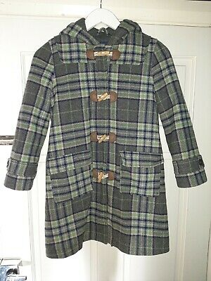 Mini Boden Girls Hooded Duffle Coat Age 9-10 Wool Grey Green Pink Blue Check