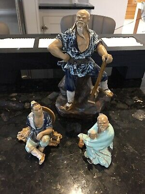 Chinese mudman figurines x 3 - excellent condition!