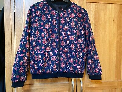 Girls Floral Design Bomber Jacket Age 11-12 Yrs Great Condition