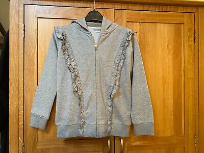 Next Girls Zip Up Hoodie/Jumper  – Sparkle Grey - 11 Years Beautiful Condition