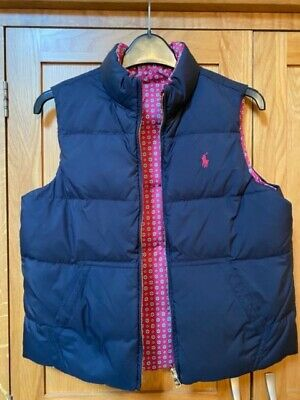 Ralph Lauren Girls Navy/Floral reversible Gillet -Large (Age 12-14) Beautiful