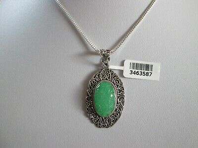 Carved Burmese Green Jade Sterling Silver Pendant with 17 Inch Chain