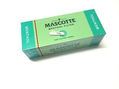 1000 x MASCOTTE MENTHOL MAKE YOUR OWN CIGARETTE FILTER EMPTY TUBING WHITE TIP