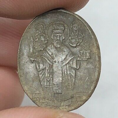 1200-1700's Late/Post Medieval Byzantine Orthodox Relic Icon Copper Pendant Old