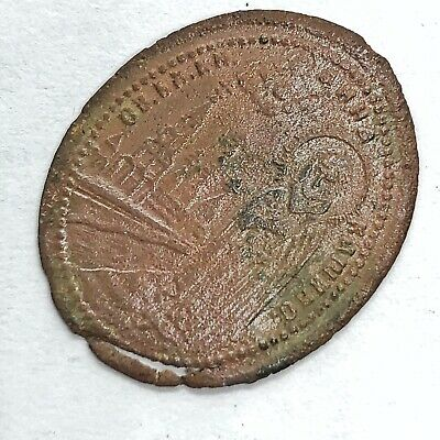 1200-1700's Late/Post Medieval Byzantine Orthodox Relic Icon Copper Pendant A+