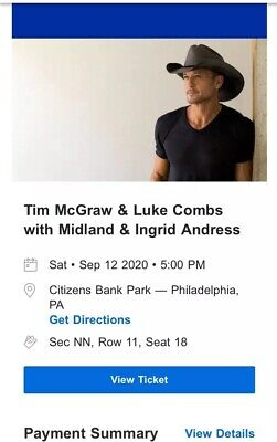 1 Tickets To Tim McGraw & Luke Combs CHEAP Citizens Bank Park Philadelphia, PA