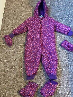girls padded fleece lined warm snowsuit 18-24 months mountain warehouse stars