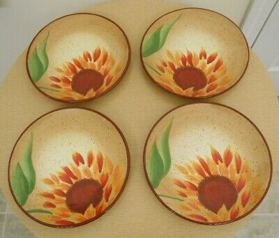 "Set of 4 Pfaltzgraff EVENING SUN Hand Painted 9"" Salad Plates Excellent Cond"