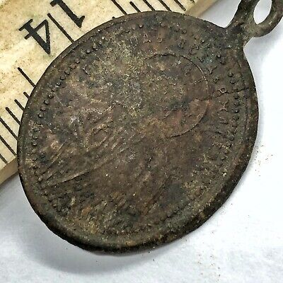 1200-1700's Late/Post Medieval Byzantine Orthodox Relic Icon Copper Pendant A