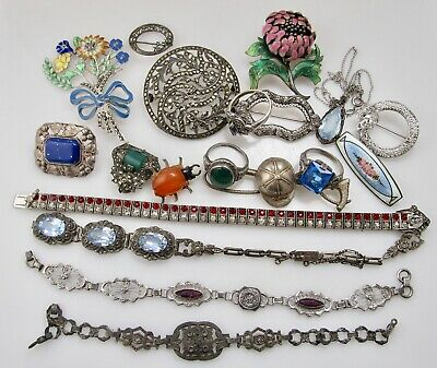 Nice Big Lot Antique Art Deco Sterling Ring Bracelet Pendant Paste Marcasite