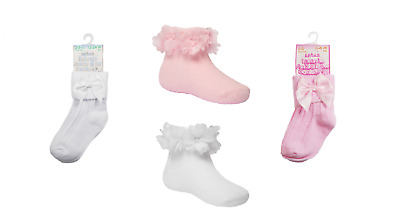 Baby Girls Toddlers Ankle High Socks With Bow Lace White Pink  0-24 Months