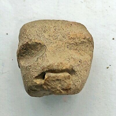 Pre-Columbian Central American Archeological Human Face Clay Pottery Artifact #1