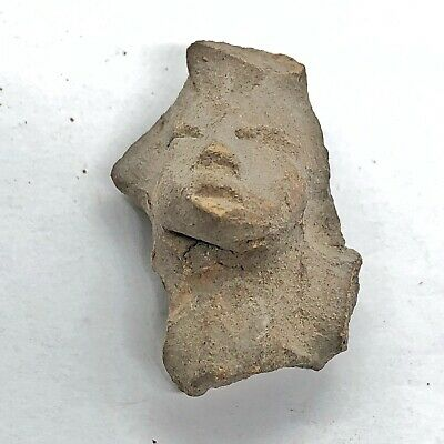 Pre-Columbian Central American Archeological Human Face Clay Pottery Artifact #5