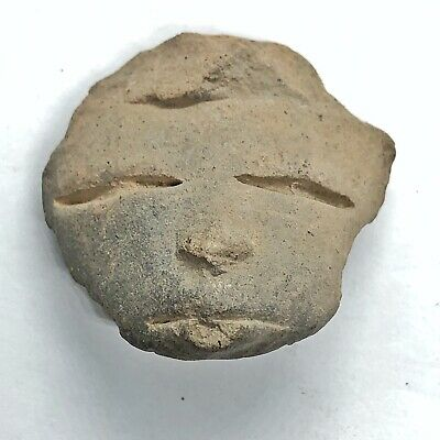 Pre-Columbian Central American Archeological Human Face Clay Pottery Artifact #7