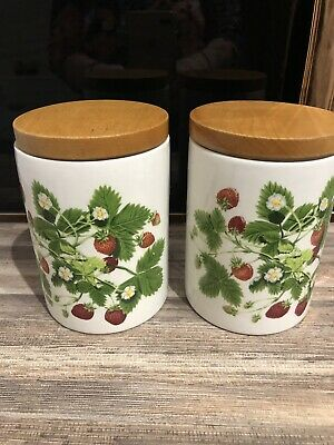 Two Portmeirion medium storage jars Summer Strawberries 14cms tall