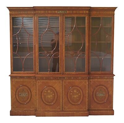 L31601EC: English Made Adam Paint Decorated Breakfront Bookcase