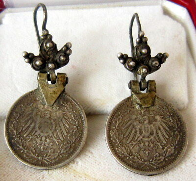 VINTAGE EARLY 20c.th.SILVER EARRINGS WITH 2 HALF GERMAN MARK FROM 1914/15 # 274