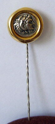 VTG SILVER PIN BROOCH WITH HEAD ALEXSANDER GOLD PLATED CASE, EARLY 20 th CENTURY