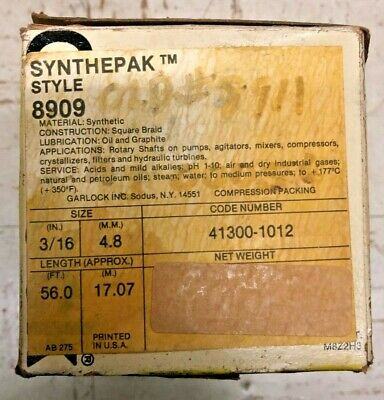 "Garlock Synthpak 3/16"" Compression Packing Length 56 Ft. Style: 8909"