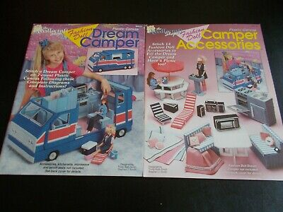 Lot of 2 Fashion Doll Dream Camper & Camper Accessories Plastic Canvas Leaflets