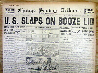 Best 1920 headline display newspaper BEGINNING of NATIONAL PROHIBITION in the US