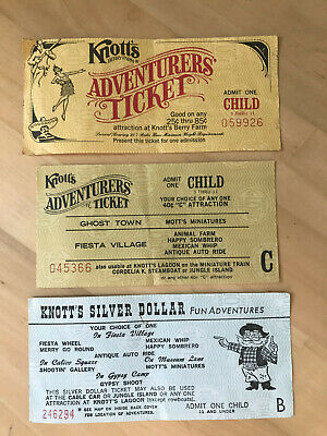 Vintage Knotts Berry Farm Child Admission Ticket & Ride Tickets