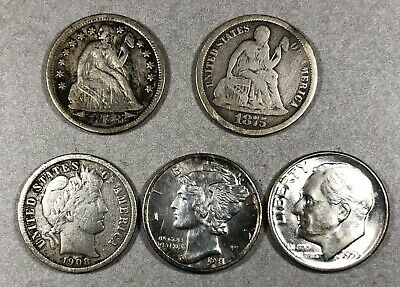 seated liberty dimes, barber, mercury, Roosevelt type set dime