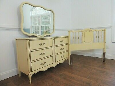 French Provincial Furniture, dresser, mirror, twin headboard by Dixie