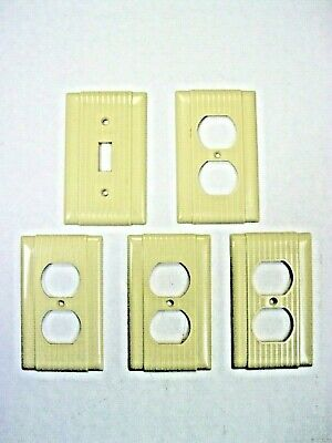 1960's Vintage Ribbed Wall Outlet and Light Switch Covers