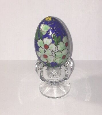 Antique Chinese Cloisonne & Blue Enamel Round Egg Flowers with Stand