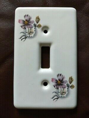 Ceramic Floral Single Light Switch Plate Wall Cover