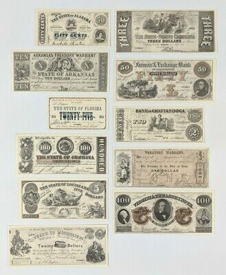 Southern States Paper Money Set Facsimile Printing 1860's Currency Complete Set