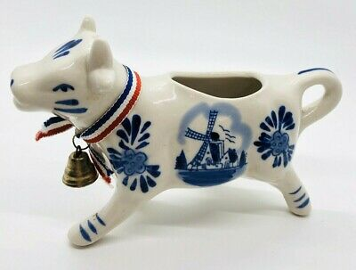 DELFT Windmill Cow Creamer Vintage w/ Ribbon and Bell Blue and White Ceramic