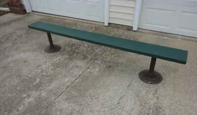 Vtg 8 Feet Long Fiberglass Bench With Solid Steel Frame And Bases Really Nice !