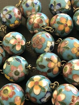 Antique Older Chinese Cloisonne Large Bead Long Beaded Necklace Brass String