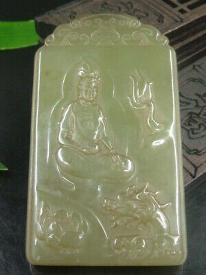 Antique Chinese Nephrite Celadon Hetian-OLD jade Shakya Mani Statues/Pendant