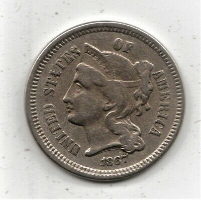 1867 3 Cent CN - nice HIGH Grade - superior type/collector coin