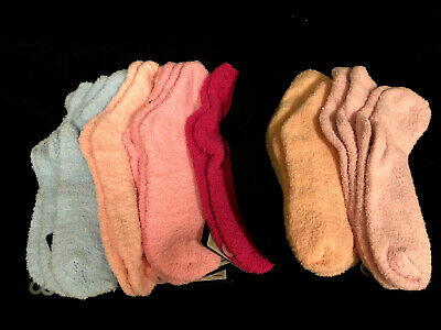 6 Pairs Womens Ladies Girls Bed Socks Size 2-8 Assorted Plain Colors CLEARANCE