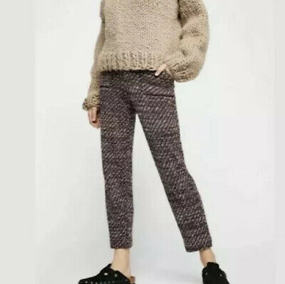 Free People OB902419 Cozy Knit Trousers Deep Red Wine Multi-color Pants Sz XS