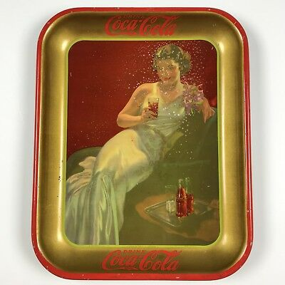 1936 Original Coca-Cola Serving Tray Glamour Girl in White Dress on Chair