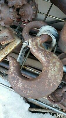 2 Logging Mining Tow Chain Hooks Rusty Metal Art Steel Iron Steam Punk Vintage