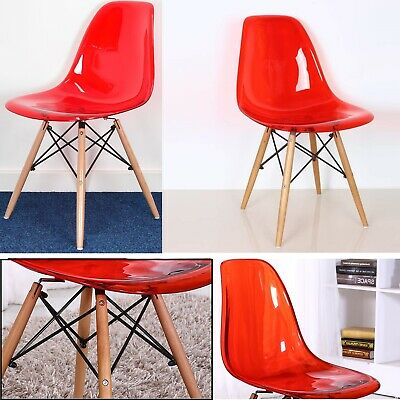 Transparent Plastic Designer Style Dining Chairs Retro Lounge Home Office Chair