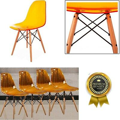 Dining Chair Tulip Chairs Retro Wooden Legs Office Kitchen Room Lounge Stool New