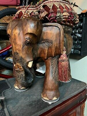 Indonesian Solid Teak Wood Hand Carved Elephant
